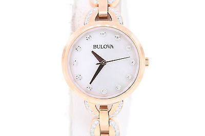 Ladies Bulova 98L207 Rose Gold-Tone Stainless Steel Crystal Accent MOP Watch