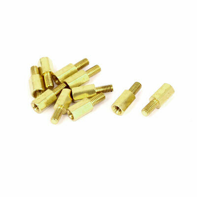M3x9mm+6mm Male to Female Thread 0.5mm Pitch Brass Hex Standoff Spacer 10Pcs