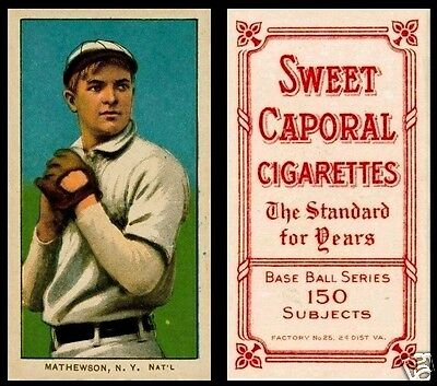 LOT of 25 Reprint 1909 T-206 Christy Mathewson White Cap Sweet Caporal Back