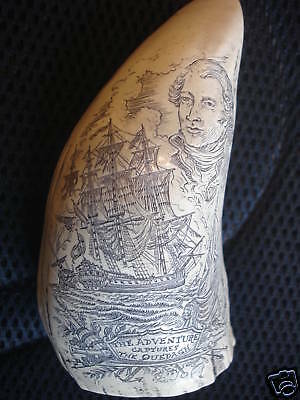 "Scrimshaw Sperm Whale tooth RESIN REPLICA  "" ADVENTURE CAPTURES QUEDAGH"""