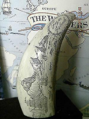 "Scrimshaw Sperm whale tooth resin REPRODUCTION "" FOGOS ISLAND"" 6&1/2""  long"