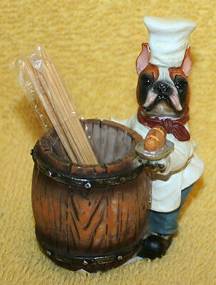 BOXER Dog CHEF Dog Toothpick Holder Figurine