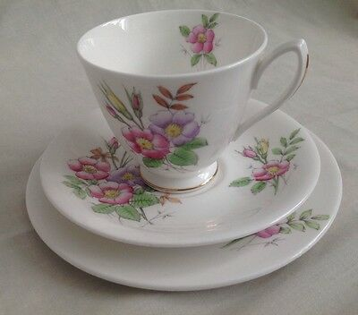 Vintage Royal Albert Flower Of The Month June Rose Trio Cup Saucer Side Plate