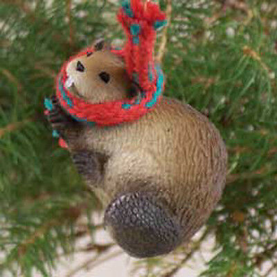 BEAVER with Scarf Tiny One Miniature Christmas ORNAMENT