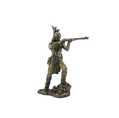 Native American Indian Standing Shooting Rifle Sculpture Statue Figurine