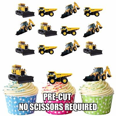 PRECUT JCB Truck Digger 12 Edible Cupcake Toppers Cake Decorations Boys Mens