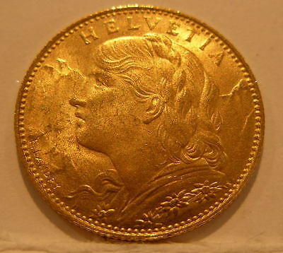 Switzerland 1922B Gold 10 Francs UNC