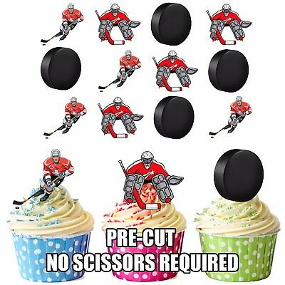 24X EDIBLE CUPCAKE CAKE TOPPERS ICE HOCKEY TEAMS DEVILS ICING