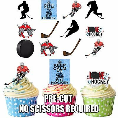 PARTY PACK 36 x  Ice Hockey Silhouette Player Mix Edible Cup Cake Toppers Wafer