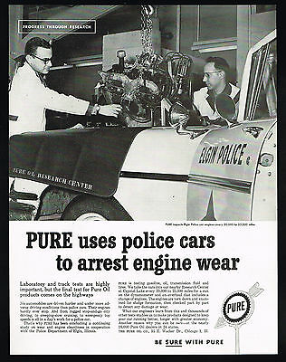 1960 Pure Motor Oil Illinois Elgin Police Department Car Photo Vintage Print Ad