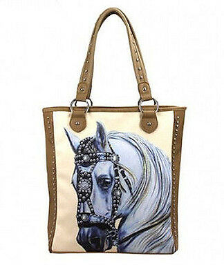 Horse & Western Ladies Montana West Baroque Horse Head Tote Handbag Tan Cream
