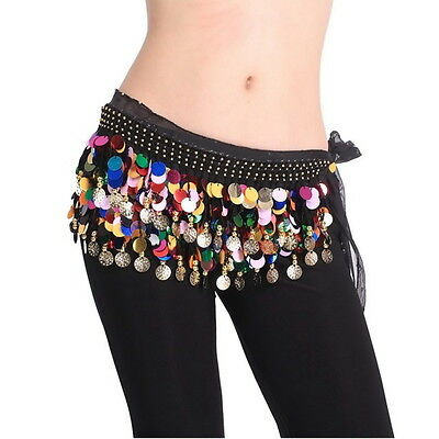 Dancing Coin Chain Sequin Belly Dance Hip Skirt Scarf Wrap Belt Waistband GO