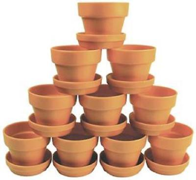 Craft or Garden Plant Pot & Saucer Terracotta Colour x10