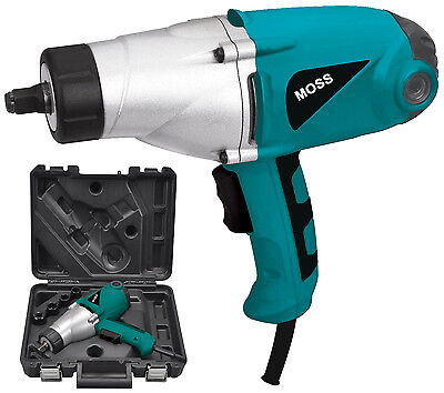 """MOSS 450NM TORQUE 1000W ELECTRIC 1/2"""" IMPACT WRENCH 230 Volts CARRY CASE"""
