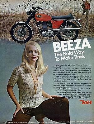 """1969 BSA Starfire 250 Motorcycle """"The Bold Way"""" Original Color Ad"""