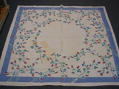 VINTAGE HEAVY COTTON KITCHEN TABLECLOTH w BLUE BORDER & RED ROSE BUDS 53x48