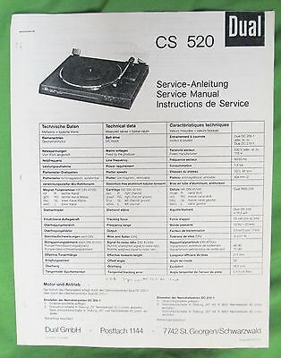 Dual Cs 520 Service Manual This Is A Photo Copy For Dual Model Cs 520 Turntable