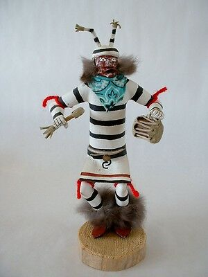 "Old Clown Kachina Doll By 'l Yazzie' 10""  Remarkable Clown Mask Estate Sale"