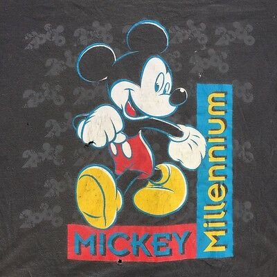 Vintage 90s Thrashed Mickey Millennium T Shirt USA Made 100% Cotton Size