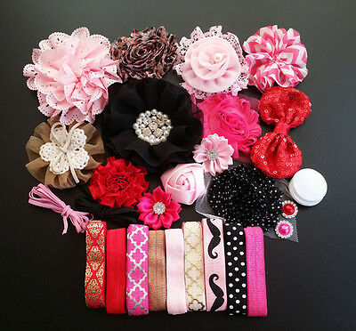 Deluxe DIY kits,Baby Shower Station,Headband,shabby flowers Party Supply,Xms S21