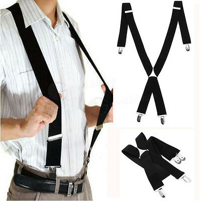 UK Durable Heavy Duty MEN BRACES SUSPENDER ELASTIC 35mm WIDE  BLACK Trouser New