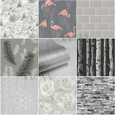 Grey Silver Wallpaper Patterned - Stars Floral Feathers Trees Marble Slates
