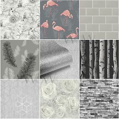 Grey Wallpaper Patterned - Stars Floral Feathers Trees Marble Slates & More