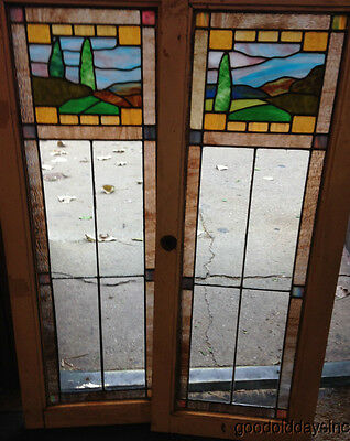 2 Beautiful Antique Chicago Stained Leaded Glass Scene Window Oak Bookcase Door
