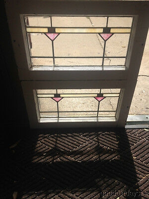 "2 small Antique 1920's Stained Glass Transom Windows 22"" x 13"""