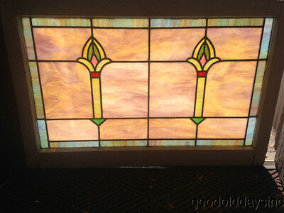 "Beautiful Antique Stained Leaded Glass Transom Window From Chicago 38"" x 25"""