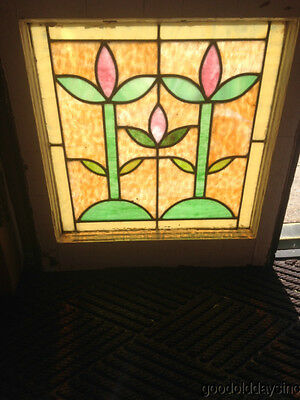 "Antique Colorful Arts & Crafts Stained Leaded Glass Window 21"" x 20"""