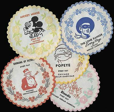 Set of 5 Vintage 1940s COMIC STRIP DOILIES, mint. Popeye, Blondie, Mickey Mouse+