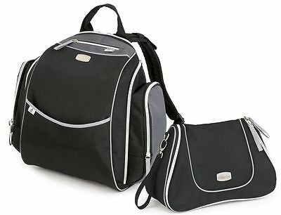 Chicco Urban Backpack & Dash Bag Baby Diaper Bag Set Black NEW w/ Changing Pad