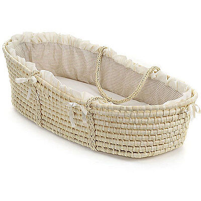 Natural Baby Moses Basket with Ecru Gingham Bedding