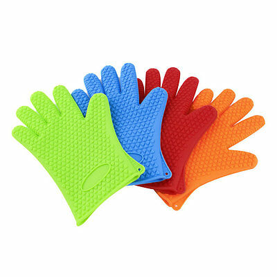 Kitchen Heat Resistant Silicone Glove Oven Pot Holder Baking BBQ Cooking Tool GO
