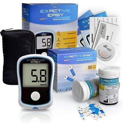 Exactive Easy Blood Glucose Meter+50 FREE Test strips & Lancets,Diabetes Kit CE