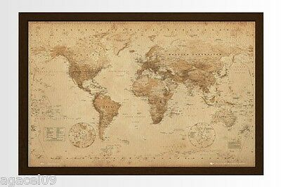 FRAMED MAXI SIZE WORLD MAP 91.5 x 61cm ANTIQUE LOOK POSTER WALL NEW GREAT GIFT
