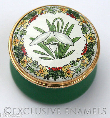Staffordshire Enamels January Snowdrop Flower Of The Month Enamel Box