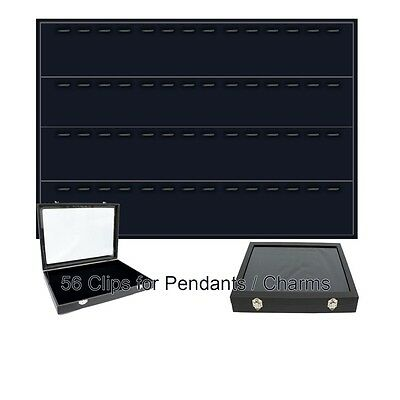Black Glass Top Lid Jewelry Display Pendants Charms Organizer Storage Case Box