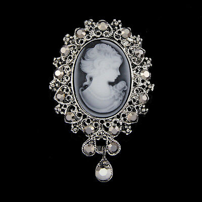 Cameo Vintage Style Crystal Bouquet Wedding Party Women New Pendant Brooch Pin