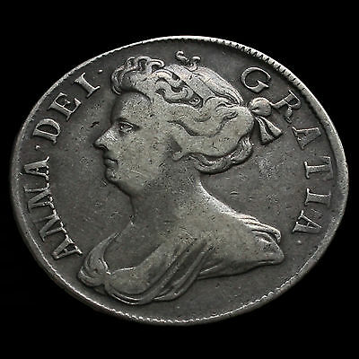 1708 Queen Anne Early Milled Silver Half Crown, Septimo Edge