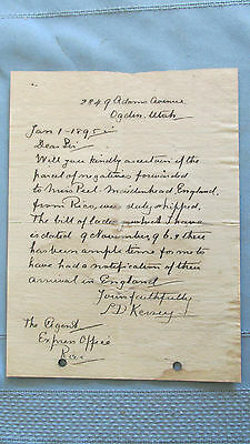 Rico Colorado Railroad Express Agent Letter-1895-Items Delivered To England