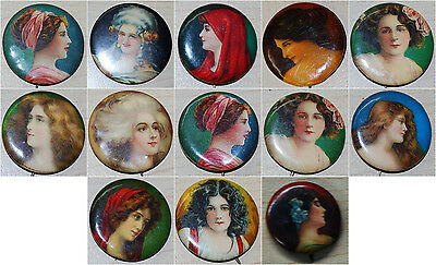 Lot of 13 - Victorian Lady Cracker Jack Tobacco Pinbacks/Pins