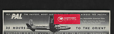 Philippine Airlines 1948 Fly Pal To The Orient In 35 Hrs From San Francisco Ad