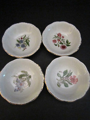 Set of 4 Royal Couldon England Small Berry Bowl Porcelain Flowers. Bone China.