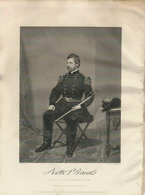 1863 Steel Engraving - General Nathaniel Banks - Nice Condition