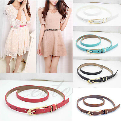 Fashion Lady Women Multicolor Waistband PU Leather Thin Skinny Belt Buckle HOT!