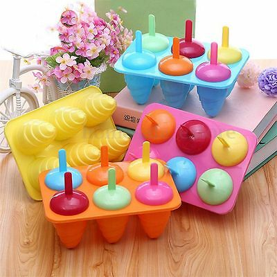 Hot 6 Cell Summer Pop Popsicle Mold Tray Pan Frozen Lolly Mould Ice Cream Maker