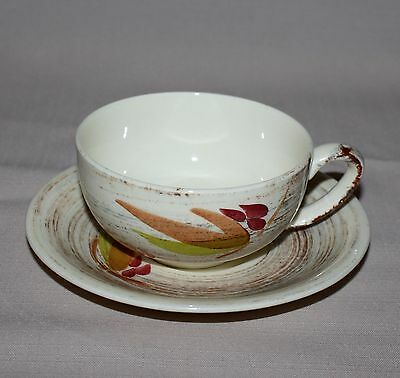 Cup and Saucer Vernonware Trade Winds Metlox Brown Green Red Leaves