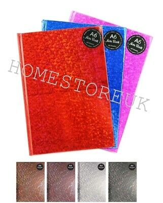 A4/5/6 Holographic 120 Page Hard Back Book Notebook Shiny Notepad Red Blue Pink
